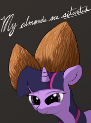 Size: 1920x2610 | Tagged: safe, artist:vultraz, twilight sparkle, pony, unicorn, activated almonds, almonds, female, gray background, mare, scrunchy face, simple background, solo, wat