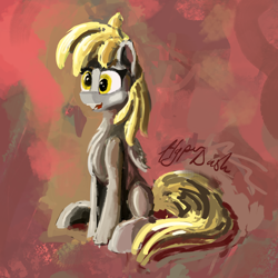 Size: 5154x5154 | Tagged: safe, artist:hyper dash, derpy hooves, pegasus, pony, painting, sitting, solo