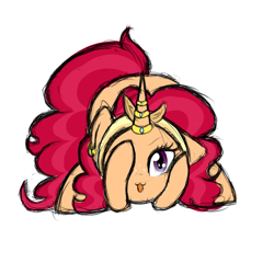 Size: 700x700 | Tagged: safe, artist:idoartz, oc, oc:apple spice, pony, unicorn, :3, catface, female, horn, horn ring, looking at you, mare, offspring, parent:apple split, parent:saffron masala, simple background, solo, white background