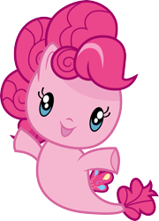 Size: 3000x4164 | Tagged: safe, artist:cloudyglow, pinkie pie, pony, seapony (g4), chibi, cute, cutie mark crew, diapinkes, female, high res, looking at you, seaponified, seapony pinkie pie, simple background, solo, species swap, toy, transparent background, vector