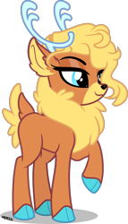 Size: 2286x4000 | Tagged: safe, artist:orin331, velvet reindeer, deer, reindeer, them's fightin' herds, alternate hairstyle, antlers, community related, high res, raised hoof, simple background, solo, transparent background
