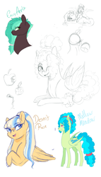 Size: 2341x4096 | Tagged: safe, artist:kittii-kat, oc, oc only, oc:desert rose, oc:envy apple, oc:mellow meadow, bat pony, pegasus, pony, bust, female, male, mare, portrait, sketch, sketch dump, stallion