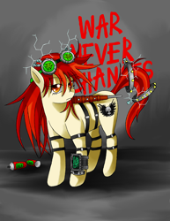 Size: 2544x3288 | Tagged: safe, artist:manhunterj, oc, oc only, fallout equestria, club, fallout, goggles, pipbuck, solo, weapon