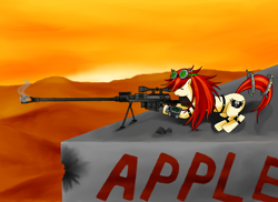 Size: 3510x2550 | Tagged: safe, artist:manhunterj, oc, oc only, fallout, goggles, gun, pipbuck, rifle, sniper rifle, solo, weapon