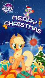 Size: 750x1280 | Tagged: safe, applejack, spike, earth pony, pony, apple, chinese, christmas, christmas tree, cute, food, hat, holiday, jackabetes, my little pony logo, official, present, santa hat, snow, tree