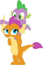 Size: 2336x3571 | Tagged: safe, artist:porygon2z, smolder, spike, dragon, dragons riding dragons, female, male, riding, simple background, transparent background, vector