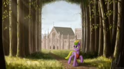 Size: 1024x576   Tagged: safe, artist:adagiostring, pony, castle, forest, scenery, solo
