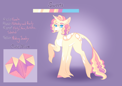 Size: 3500x2454 | Tagged: safe, artist:clay-bae, oc, oc:sweets, pony, unicorn, female, magical lesbian spawn, mare, offspring, parent:fluttershy, parent:rarity, parents:flarity, reference sheet, solo, unshorn fetlocks