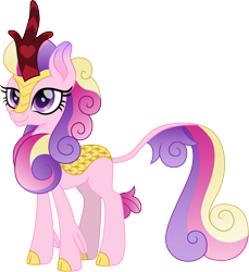 Size: 1373x1500 | Tagged: safe, artist:cloudyglow, princess cadance, kirin, cute, cutedance, female, kirin-ified, looking at you, simple background, solo, species swap, transparent background