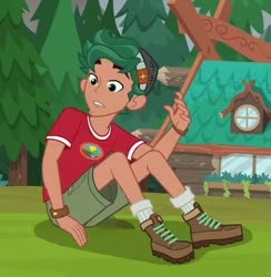 Size: 395x405 | Tagged: safe, screencap, timber spruce, equestria girls, legend of everfree, boots, camp everfree logo, camp everfree outfits, clothes, legs, male, shoes, shorts, socks