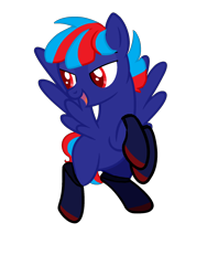 Size: 1500x2000 | Tagged: safe, oc, oc:hellfire, pegasus, blue fur, clothes, colt, crossdresser, crossdressing, foal, male, red eyes, stockings, thigh highs, young
