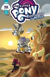 Size: 1054x1600 | Tagged: safe, artist:amy mebberson, idw, applejack, rockhoof, tempest shadow, zecora, earth pony, pony, unicorn, zebra, spoiler:comic, spoiler:comic89, bag, cover, ear piercing, earring, female, hooves, horn, jewelry, male, mare, neck rings, open mouth, piercing, queen twilight, queen twilight sparkle, saddle bag, season 10, stallion, tree