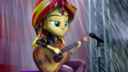Size: 1920x1080 | Tagged: safe, artist:kyloren2000, sunset shimmer, equestria girls, equestria girls series, let it rain, spoiler:eqg series (season 2), 3d, guitar, musical instrument, scene interpretation