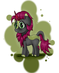Size: 2350x2900 | Tagged: safe, artist:waffletheheadmare, oc, oc only, kirin, bust, chest fluff, chest hair, cute, eyelashes, female, green eyes, grey coat, horn, mare, multicolored coat, portrait, purple mane, simple background, smiling
