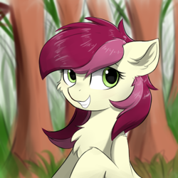 Size: 400x400 | Tagged: safe, artist:d.w.h.cn, roseluck, earth pony, pony, chest fluff, solo, tree