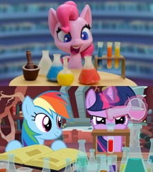 Size: 868x976 | Tagged: safe, artist:flamingo1986, edit, screencap, pinkie pie, rainbow dash, twilight sparkle, double rainboom, my little pony: pony life, potion party, book, chemistry, comparison, library, magic, open mouth, smiling, telekinesis, twilight's castle, twilight's castle library