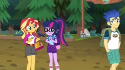 Size: 1920x1080 | Tagged: safe, screencap, flash sentry, sci-twi, sunset shimmer, twilight sparkle, equestria girls, legend of everfree, awkward, backpack, camp everfree logo, camp everfree outfits, friendzone sentry, glasses, hands in pockets, legs, ponytail, shipping denied