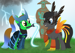 Size: 2673x1908 | Tagged: safe, artist:dyonys, oc, oc:lucky brush, oc:tanner, earth pony, pegasus, phoenix, pony, clothes, costume, dota 2, female, helmet, lightning, looking at each other, male, mare, mouth hold, phoenix dota, ponytail, raised hoof, razor, razor dota, show accurate, smiling, stallion, whip