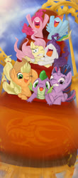 Size: 1299x2953   Tagged: safe, artist:thefredricus, applejack, fluttershy, pinkie pie, rainbow dash, rarity, spike, twilight sparkle, alicorn, dragon, earth pony, pegasus, pony, unicorn, applejack's hat, cheek to cheek, cheering, contest entry, cowboy hat, crying, embrace, female, fun, gritted teeth, gums, happy, hat, having fun, holding, hooves in air, hug, male, mane seven, mane six, mare, nose in the air, one eye closed, open mouth, roller coaster, scared, screaming, teary eyes, twilight sparkle (alicorn), uvula, varying degrees of amusement, volumetric mouth, windswept mane