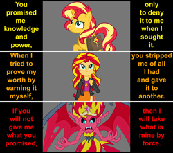 Size: 1134x1003   Tagged: safe, artist:silverbuller, sunset shimmer, demon, pony, unicorn, equestria girls, equestria girls (movie), bag, big crown thingy, element of magic, evil, female, jewelry, mare, regalia, saddle bag, sunset satan, text