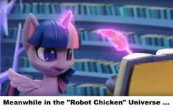 Size: 836x535 | Tagged: safe, twilight sparkle, alicorn, my little pony: pony life, potion party, book, inkwell, library, ponestrip, quill, robot chicken, solo, stop motion, twilight sparkle (alicorn), twilight's castle, twilight's castle library