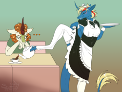 Size: 1330x1000 | Tagged: safe, artist:sunny way, autumn blaze, oc, oc:alirfesta, anthro, ki'rinaes, kirin, ..., clothes, female, food, funny, ki'rinaes and kirin, lol, maid, mare, paws, smiling, tea