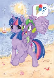 Size: 600x852 | Tagged: safe, artist:thefredricus, spike, twilight sparkle, alicorn, bird, crab, dragon, pony, seagull, beach, boat, cute, deviantart watermark, dragons riding ponies, duo, female, food, heat, hoofprints, hot, ice cream, ink drawing, lens flare, looking at each other, male, mama twilight, mare, marker drawing, obtrusive watermark, ocean, open mouth, pictogram, pointing, question mark, riding, sandcastle, seashell, smiling, speaking in images, spikabetes, summer, sun, sun glare, sweat, traditional art, twiabetes, twilight sparkle (alicorn), walking, watermark, wing umbrella