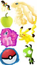 Size: 1201x2096 | Tagged: safe, artist:strange-thingshappen, pinkie pie, oc, earth pony, pikachu, pony, reshiram, apple, food, grin, invader zim, multicolored hair, pokéball, pokémon, rainbow hair, raised hoof, smiling