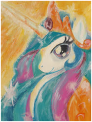 Size: 3743x4967 | Tagged: safe, artist:thefredricus, princess celestia, alicorn, pony, absurd resolution, acrylic painting, bust, canvas, crown, female, jewelry, mare, portrait, profile, regalia, shine, simple background, smiling, solo, sun glare, sunlight, traditional art, yellow background
