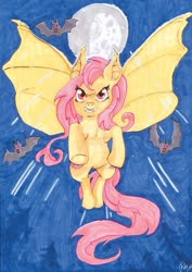 Size: 600x847 | Tagged: safe, artist:thefredricus, fluttershy, bat, bat pony, pony, bat ponified, deviantart watermark, evil grin, fangs, female, flutterbat, flying, full moon, grin, ink drawing, mare, marker drawing, moon, night, obtrusive watermark, race swap, red eyes, smiling, solo, spread wings, traditional art, watermark, wings
