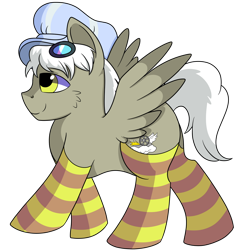 Size: 1280x1335 | Tagged: safe, artist:rainbowtashie, caboose, silver lining, silver zoom, oc, oc:air brakes, earth pony, pegasus, pony, adorable face, butt, clothes, commissioner:bigonionbean, conductor hat, cute, cutie mark, flank, fusion, fusion:air brakes, goggles, male, meme, socks, stallion, striped socks, writer:bigonionbean
