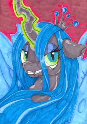 Size: 600x856 | Tagged: safe, artist:thefredricus, queen chrysalis, changeling, changeling queen, bedroom eyes, bust, deviantart watermark, evil grin, female, glowing horn, grin, horn, ink drawing, looking at you, marker drawing, obtrusive watermark, portrait, smiling, solo, traditional art, watermark