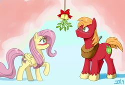 Size: 1300x889 | Tagged: safe, artist:johnjoseco, color edit, edit, big macintosh, fluttershy, earth pony, pegasus, pony, blushing, christmas, colored, female, fluttermac, holiday, male, mare, mistletoe, raised hoof, shipping, sketch, stallion, straight