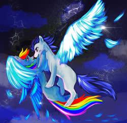 Size: 1280x1244 | Tagged: safe, artist:ggguci, rainbow dash, soarin', female, flying, male, missing cutie mark, shipping, soarindash, straight