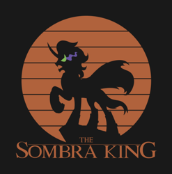 Size: 1112x1124 | Tagged: safe, artist:samoht-lion, king sombra, pony, umbrum, unicorn, cape, clothes, male, parody, raised hoof, sombra eyes, stallion, the lion king