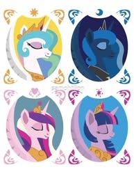 Size: 773x1000 | Tagged: safe, artist:samoht-lion, princess cadance, princess celestia, princess luna, twilight sparkle, alicorn, pony, alicorn tetrarchy, bust, eyes closed, female, jewelry, mare, peytral, tiara, twilight sparkle (alicorn)