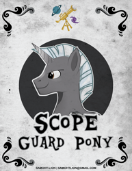 Size: 2550x3300 | Tagged: safe, artist:samoht-lion, oc, oc only, oc:scope, pony, unicorn, bust, horn, male, smiling, solo, stallion, text, unicorn oc