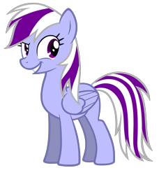 Size: 3488x3829 | Tagged: safe, artist:theironheart, oc, oc only, oc:purple bolt, pegasus, pony, female, grin, mare, pegasus oc, recolor, simple background, smiling, solo, transparent background, wings