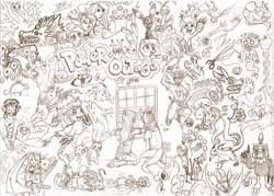 Size: 1000x717 | Tagged: safe, artist:strange-thingshappen, derpy hooves, pinkie pie, rainbow dash, oc, altaria, big cat, bird, cat, dragon, earth pony, fish, human, lion, mew, moltres, peacock, pegasus, pichu, pikachu, pony, raichu, rat, shark, snake, umbreon, apple, clothes, crossover, digimon, dna, flying, food, heart, lineart, mega gengar, neopets, nyan cat, open mouth, pokémon, poptart, scissors, sketch, socket, traditional art