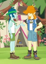 Size: 376x520 | Tagged: safe, screencap, captain planet, valhallen, equestria girls, legend of everfree, background human, boots, clothes, cropped, female, legs, male, shoes, shorts