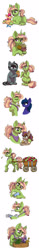 Size: 750x4766 | Tagged: safe, artist:celestial-rainstorm, oc, oc only, oc:azurite, oc:chrysanthemum, oc:iron forge, oc:sandstone pie, earth pony, pony, unicorn, apple, cart, diaper, female, filly, flower, food, male, mare, muffin, offspring, parent:big macintosh, parent:limestone pie, parent:marble pie, parent:maud pie, parent:mud briar, parent:quibble pants, parent:sugar belle, parent:troubleshoes clyde, parents:marbleshoes, parents:maudbriar, parents:quibblestone, parents:sugarmac, simple background, stallion, white background