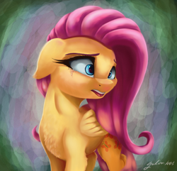 Size: 2900x2800 | Tagged: safe, artist:galinn-arts, fluttershy, pegasus, pony, chest fluff, crying, cute, female, floppy ears, folded wings, head turn, looking away, mare, open mouth, sad, sadorable, solo, teary eyes, teeth, three quarter view, wings