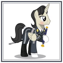 Size: 1024x1024 | Tagged: safe, artist:brony-works, alicorn, pony, clothes, luftwaffe, male, nazi germany, simple background, solo, stallion, uniform, white background, world war ii