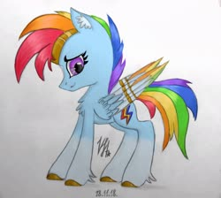 Size: 2407x2160 | Tagged: artist needed, source needed, safe, rainbow dash, pegasus, pony, leak, spoiler:g5, colored wings, female, g5, hooves, jewelry, mare, multicolored wings, rainbow dash (g5), rainbow wings, redesign, solo, tiara, traditional art, wings