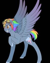 Size: 800x1000 | Tagged: artist needed, source needed, safe, rainbow dash, pegasus, pony, leak, spoiler:g5, cool, female, g5, heterochromia, hooves, mare, rainbow dash (g5), raised hoof, redesign, smiling, smirk, spread wings, wings