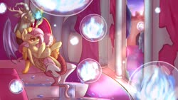 Size: 1920x1080 | Tagged: safe, artist:sadonax, angel bunny, discord, fluttershy, princess celestia, twilight sparkle, draconequus, pegasus, pony, rabbit, animal, bad end, broken window, bubble, canterlot castle, chaos, contest entry, discoshy, evil, evil fluttershy, evil grin, female, fire, grin, hand on head, in bubble, insanity, levitation, magic, male, shipping, smiling, straight, telekinesis, throne, trapped, usurpation, window