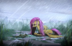 Size: 1600x1013 | Tagged: safe, artist:ruffu, fluttershy, pegasus, pony, cloud, crying, female, floppy ears, flower, grass, lying, mare, prone, puddle, rain, sad, sky, tall grass, wet, wet mane