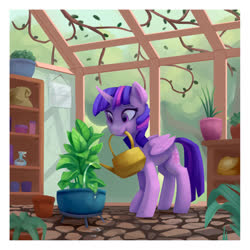 Size: 1280x1280 | Tagged: safe, artist:lilfunkman, twilight sparkle, alicorn, pony, cute, female, greenhouse, mare, plant, potted plant, solo, twiabetes, twilight sparkle (alicorn), water, watering can