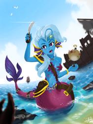 Size: 1536x2048 | Tagged: safe, artist:qzygugu, trixie, angler fish, anthro, fish, mermaid, puffer fish, beach, bomb, ear fins, female, gills, knife, mermaidized, solo, species swap, starfish bra, weapon