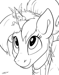 Size: 1234x1549 | Tagged: safe, artist:tsitra360, oc, oc only, oc:altus bastion, oc:der, griffon, pony, unicorn, clothes, looking up, micro, monochrome, ponytail, scarf, sketch